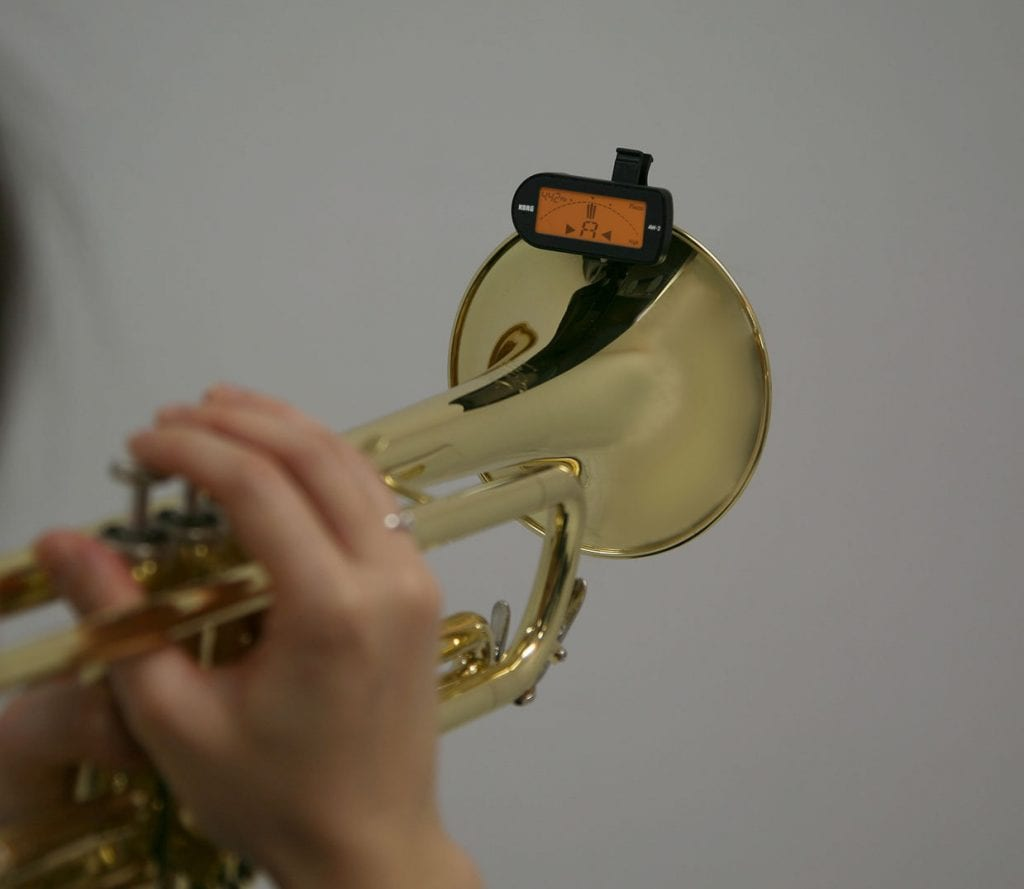A trumpet with a tuner