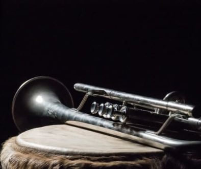 Trumpet with black background